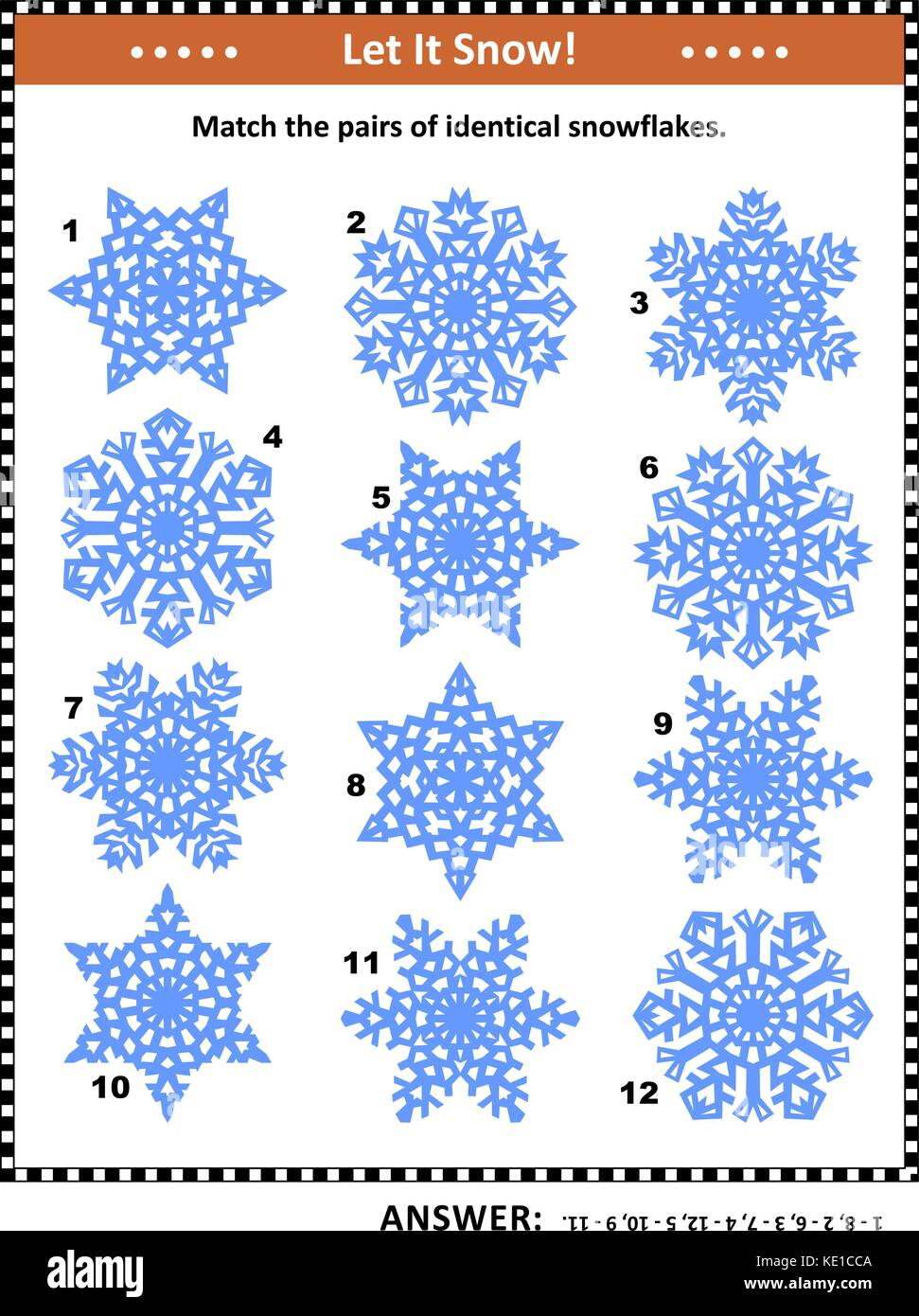 Winter and holidays themed visual puzzle: Match the pairs of identical snowflakes. Answer included. - Stock Image
