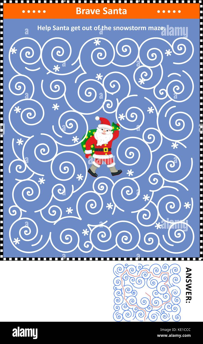 Christmas or New Year maze game: Help the brave Santa get out of the snowstorm maze. Answer included. - Stock Image