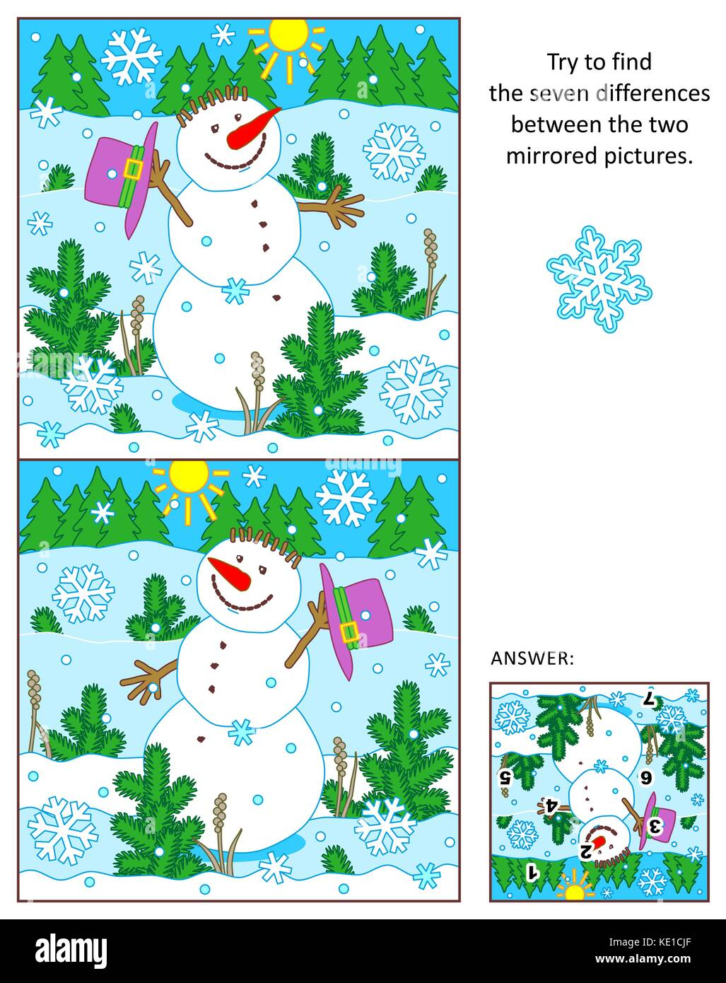 Winter, New Year or Christmas themed visual puzzle: Find the seven differences between the two mirrored pictures - Stock Image