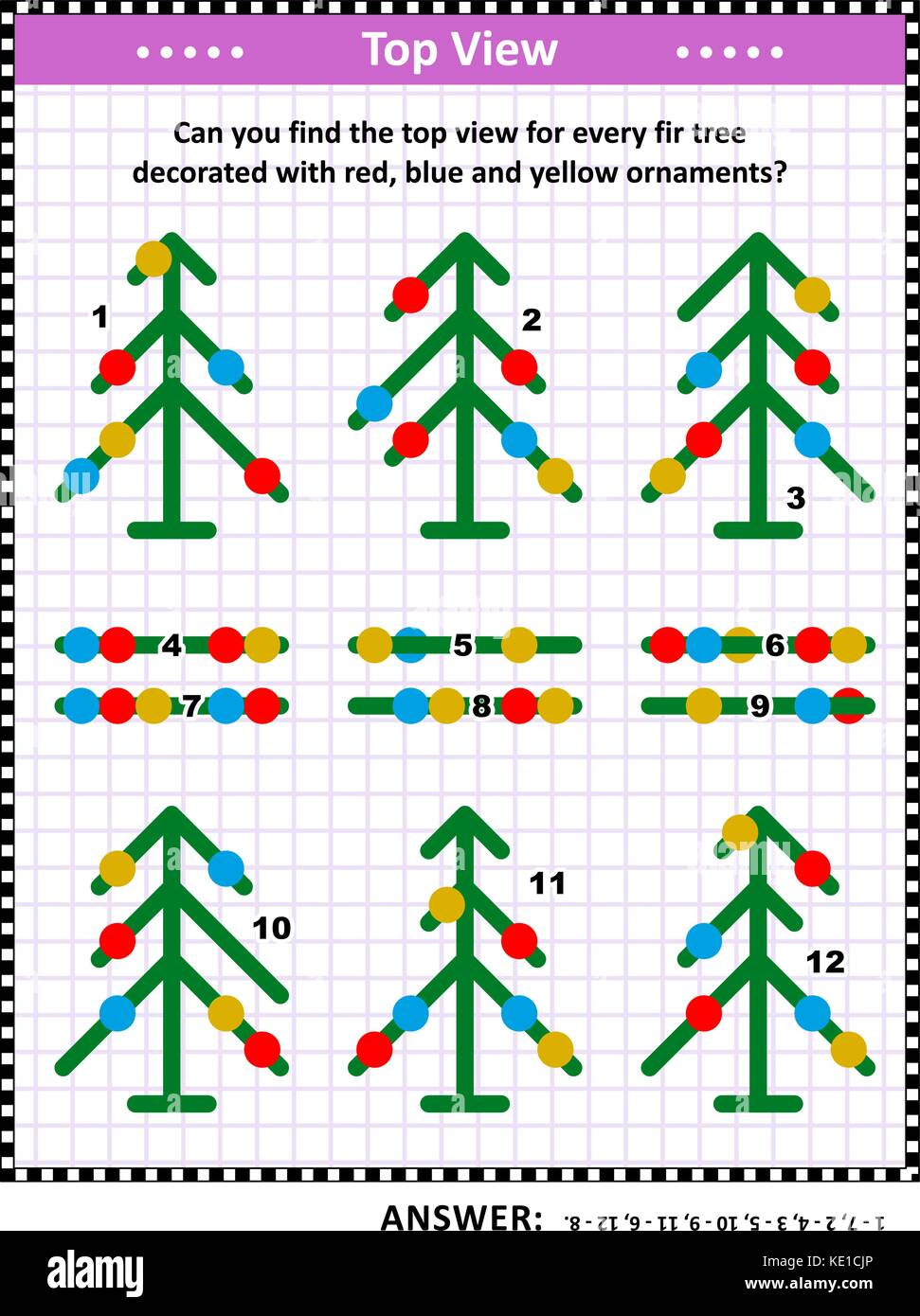 IQ  training visual puzzle (suitable both for kids and adults): Can you find the top view for every fir tree decorated - Stock Image