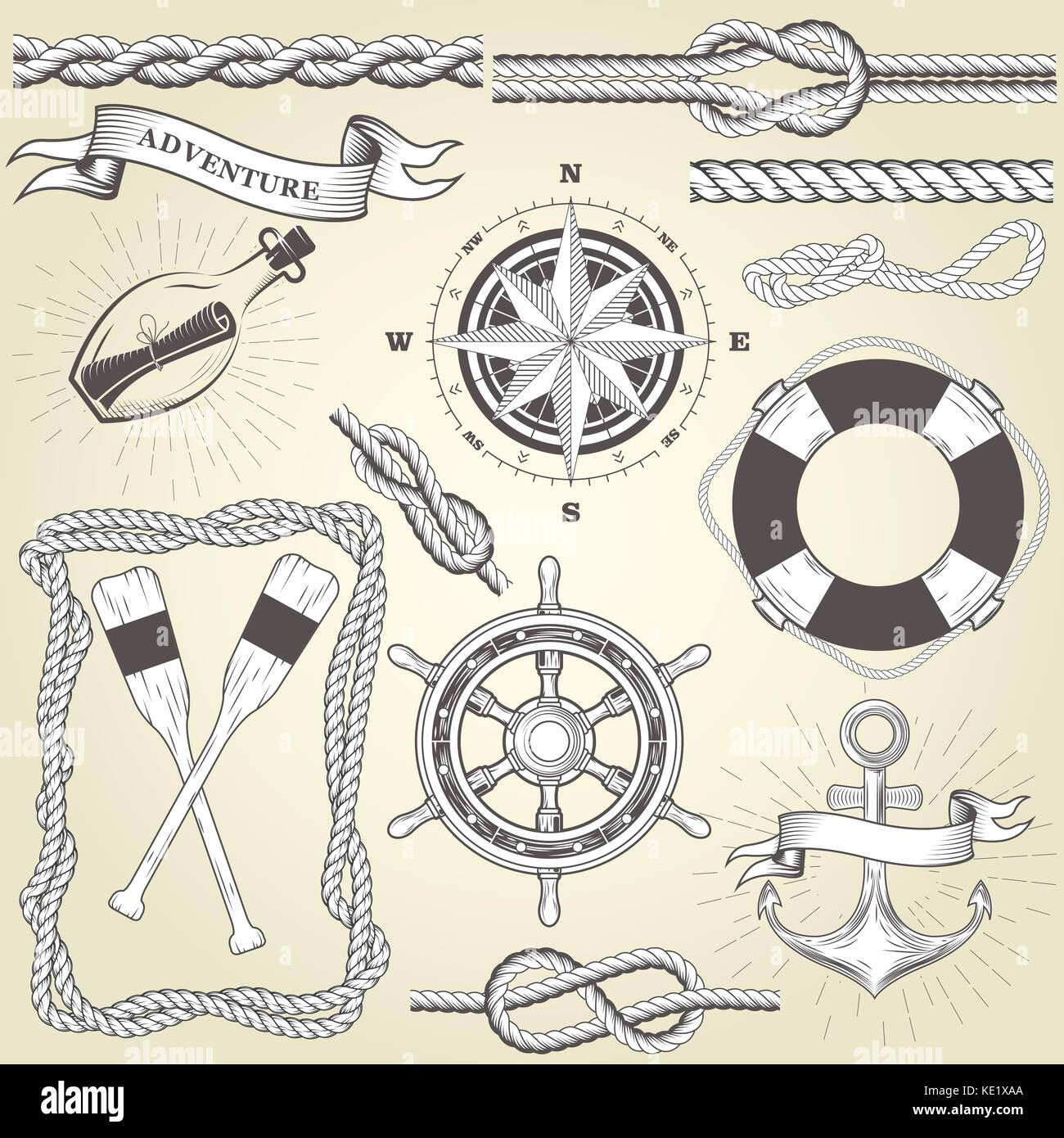 Vintage seafaring elements - steering wheel, oars, rope frame and knots - Stock Image