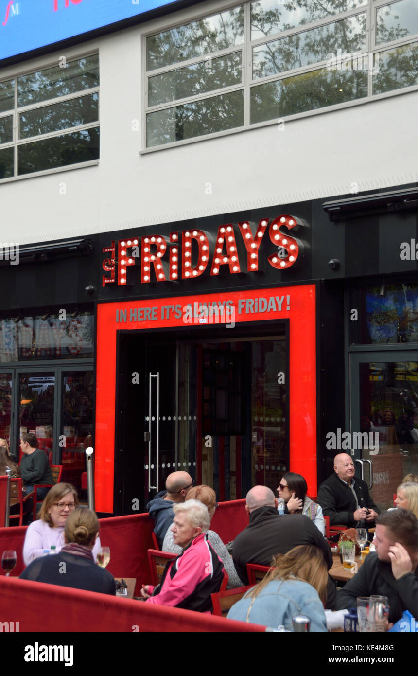 TGI Fridays restaurant in Leicester Square, London, UK. - Stock Image