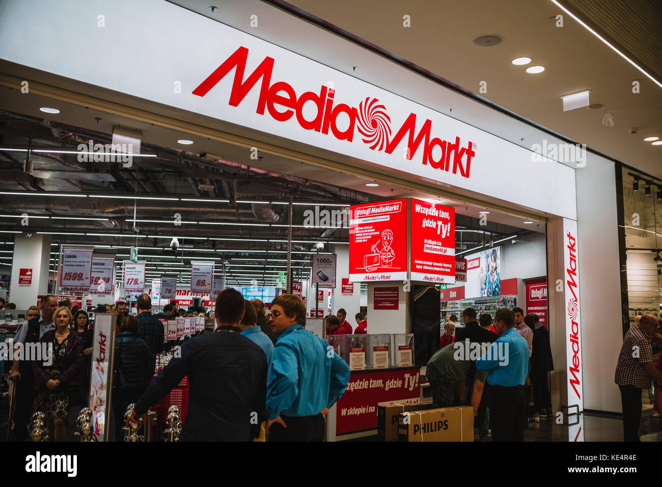 Wroclaw, Poland, October 18, 2017 : Media Markt first day of the new shopping center Wroclavia in Wroclaw, Poland - Stock Image