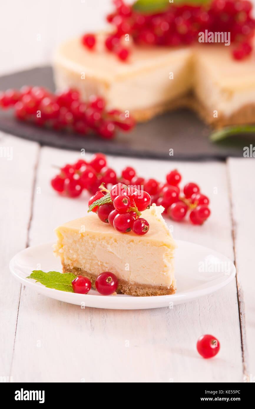 Redcurrant cheesecake. - Stock Image