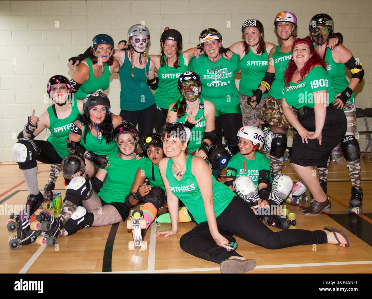 Roller derby skaters from various leagues competing as The Spitfires - Stock Image