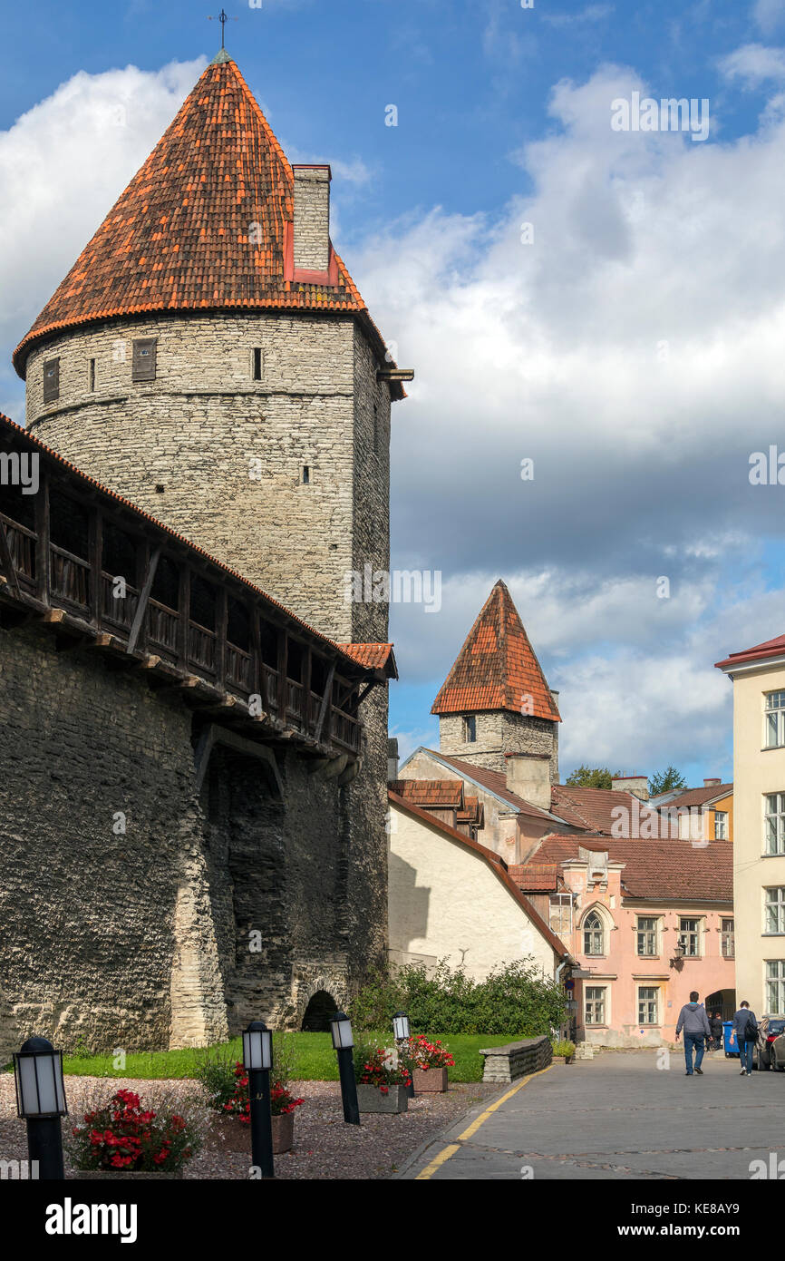 Part of the medieval city wall in the Old Town of Tallinn in Estonia. - Stock Image