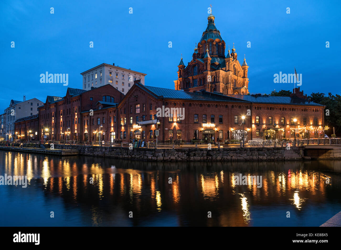 Uspenski Cathedral and Katajanokka waterfront in the city of Helsinki in Finland. - Stock Image
