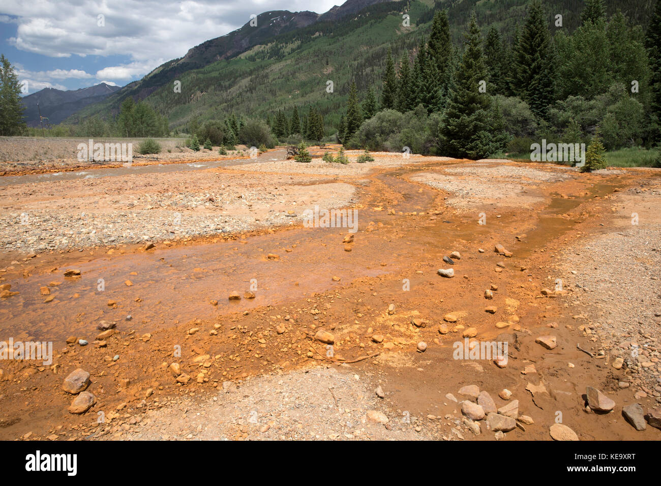 Water pollution, runoff from the Red Mountain Mine, Ouray County, Colorado, USA - Stock Image