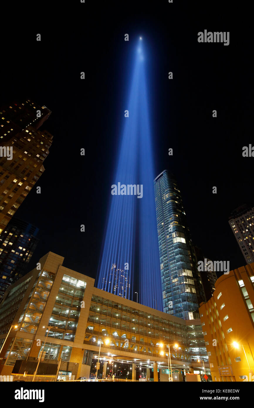 Tribute in Light remembrance of September 11 attacks in New York City - Stock Image