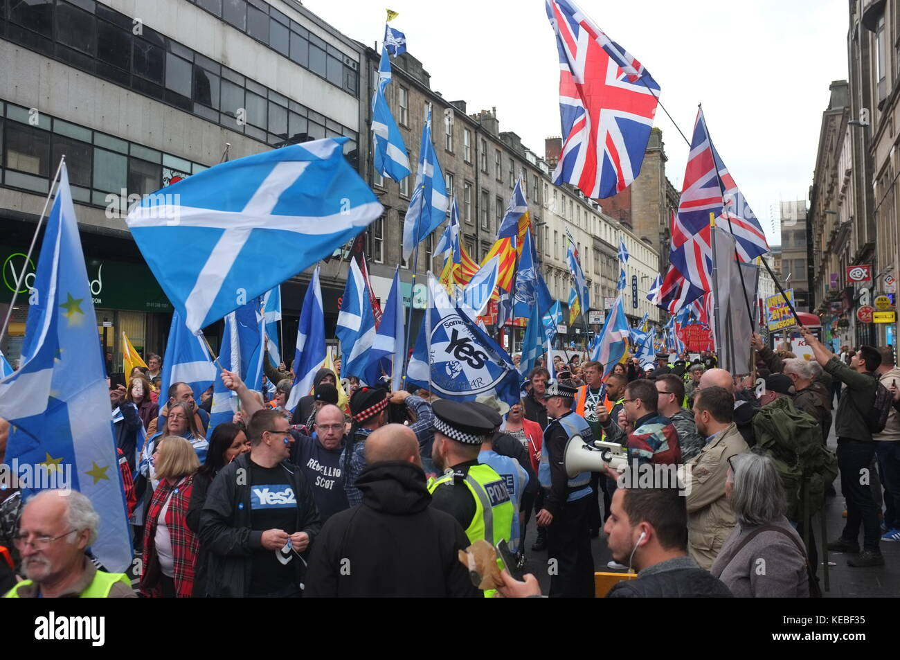 Pro-independence rally organised by Hope Over Fear, Glasgow, Scotland, United Kingdom. 16 September 2017. - Stock Image