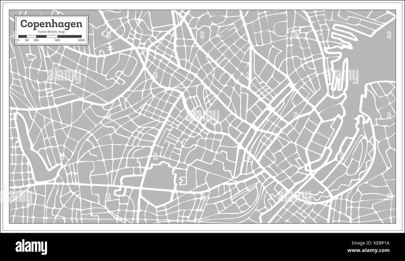 Copenhagen Map in Retro Style. Hand Drawn. Vector Illustration. - Stock Image