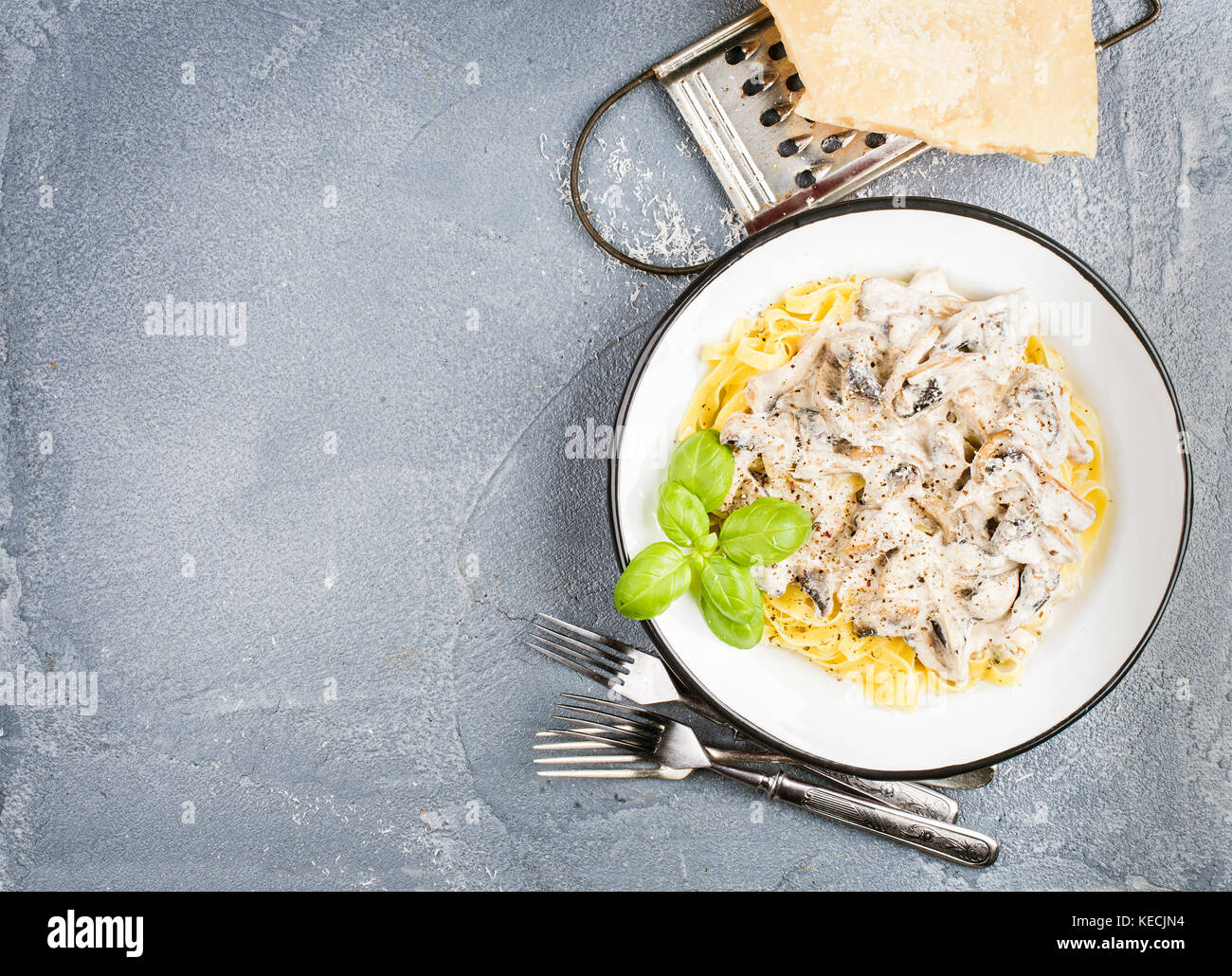 Tagliatelle pasta with mushrooms and creamy sauce, parmesan cheese over concrete textured background - Stock Image