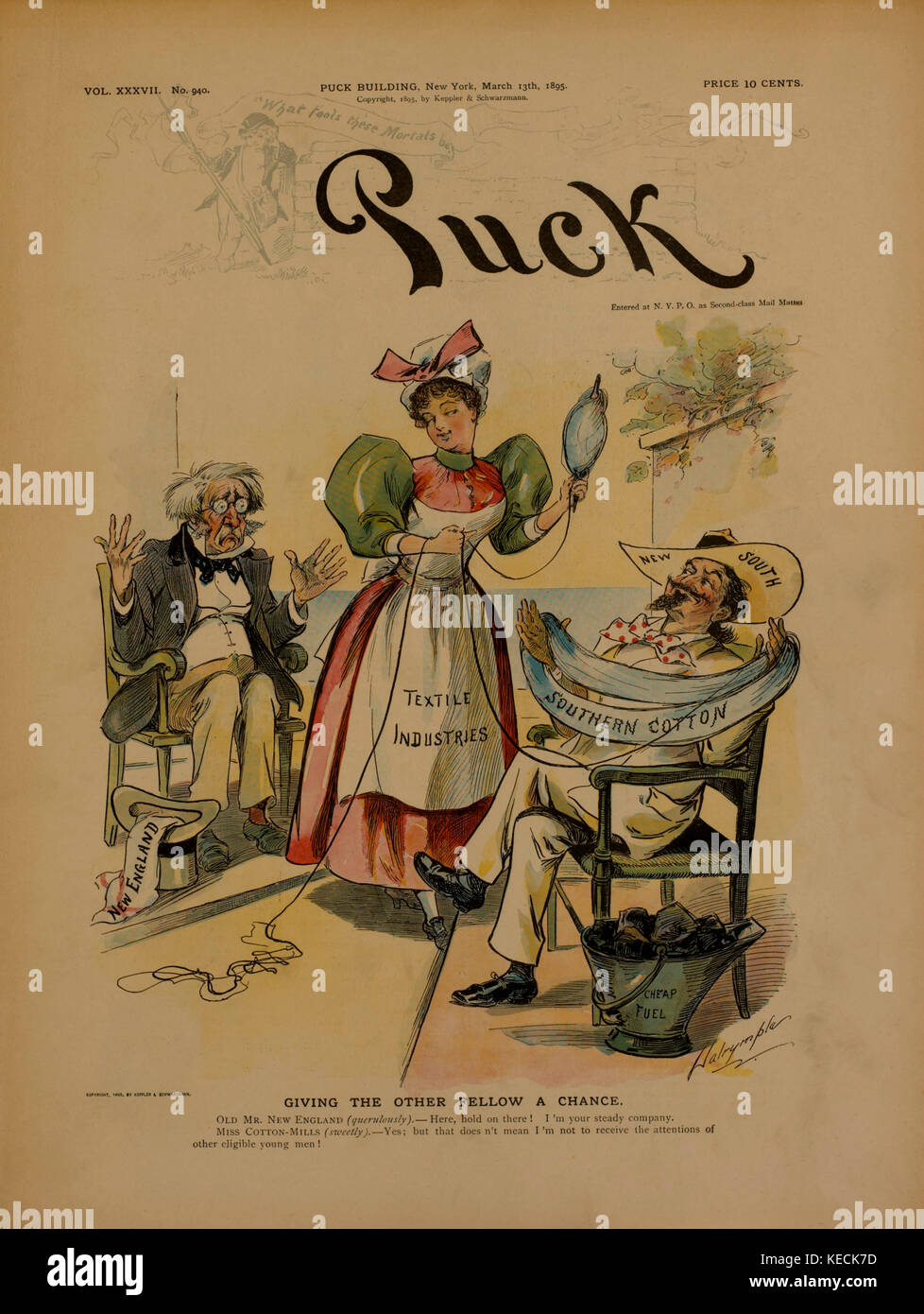 Political Cartoon, Giving the Other Fellow a Chance, Puck Magazine Cover, March, 13, 1885 - Stock Image