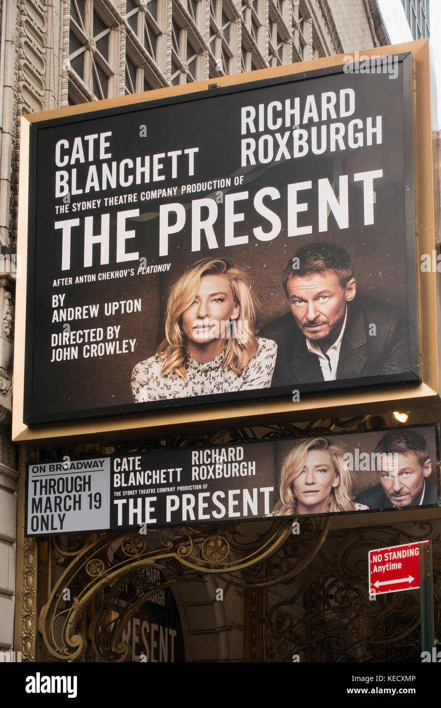 The Present Broadway theater marquee NYC - Stock Image