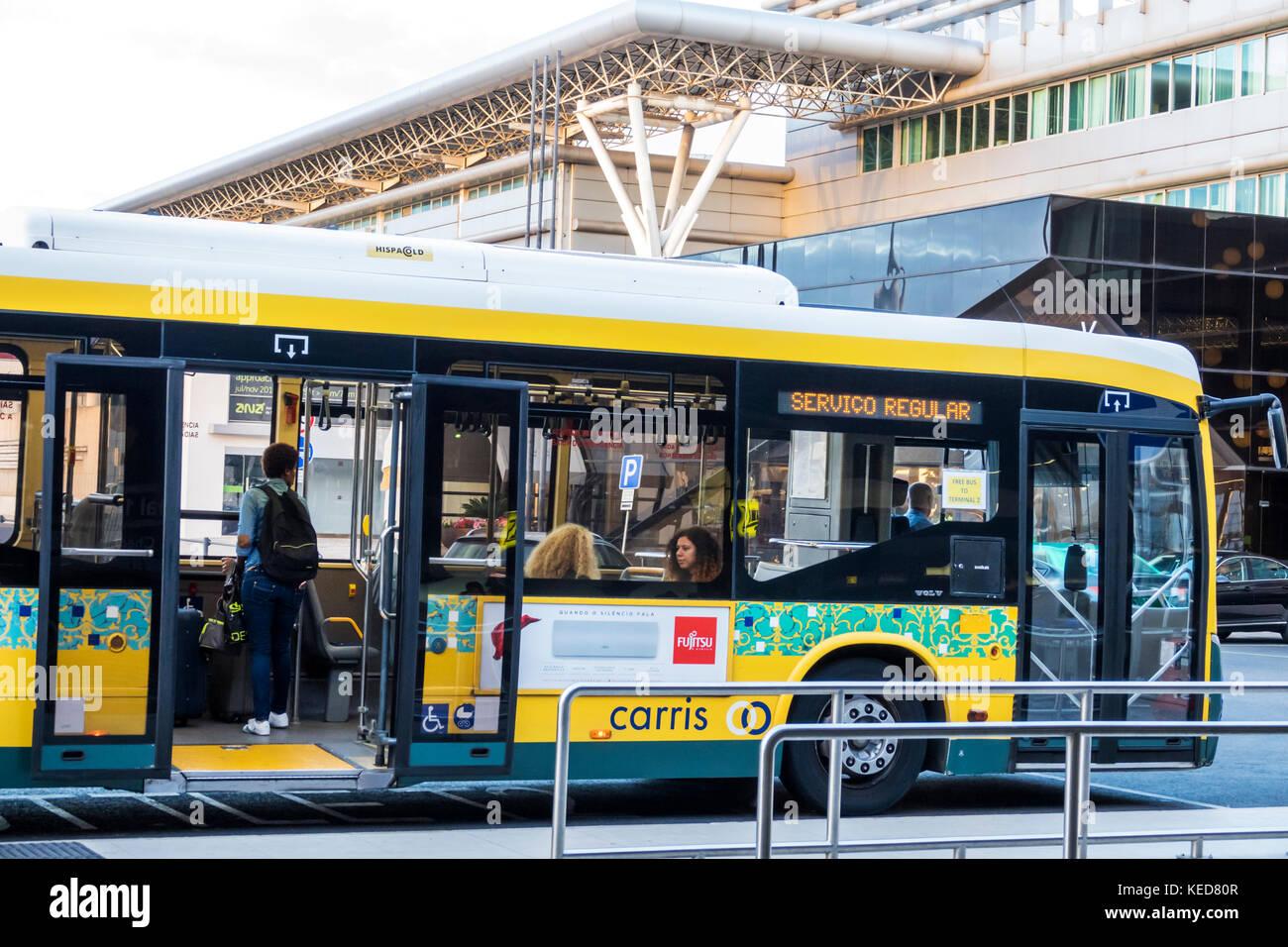 Lisbon Portugal Humberto Delgado Airport LIS Portela Airport ground transportation Carris public transit bus stop - Stock Image