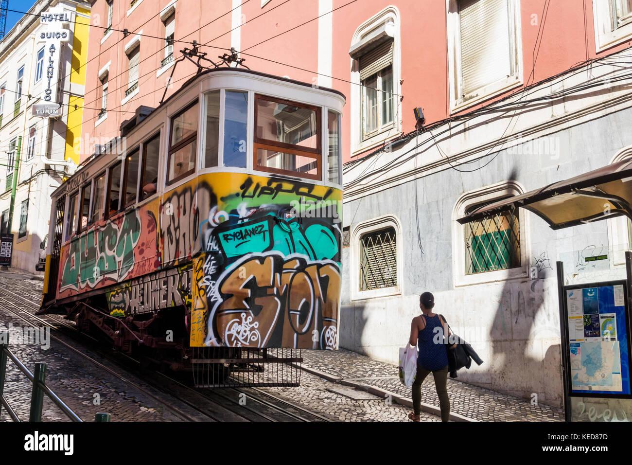Lisbon Portugal Restauradores Square Ascensor da Gloria Elevador tram funicular railway - Stock Image
