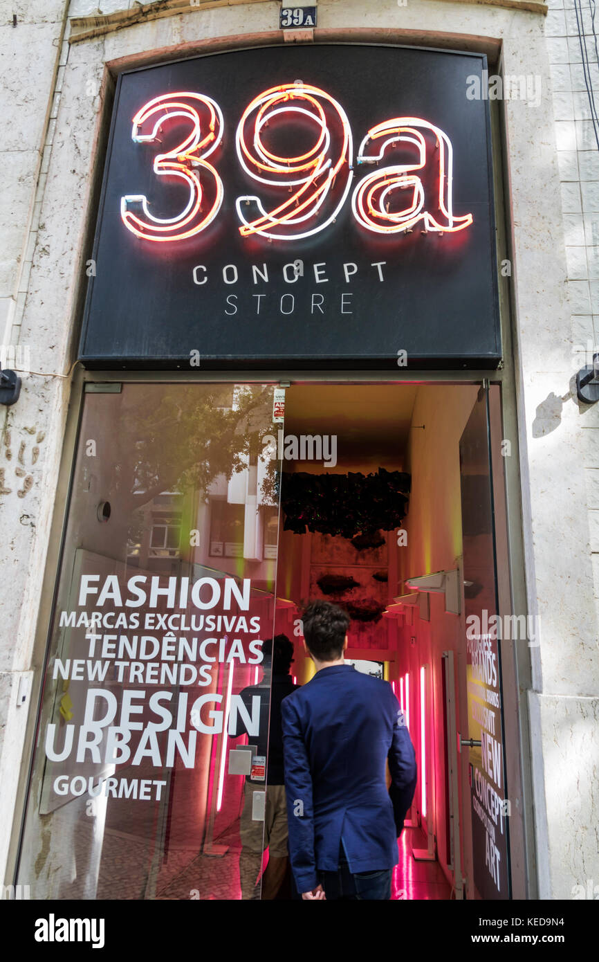 Lisbon Portugal 39a Concept Store shopping retail urban fashion entrance front neon sign - Stock Image