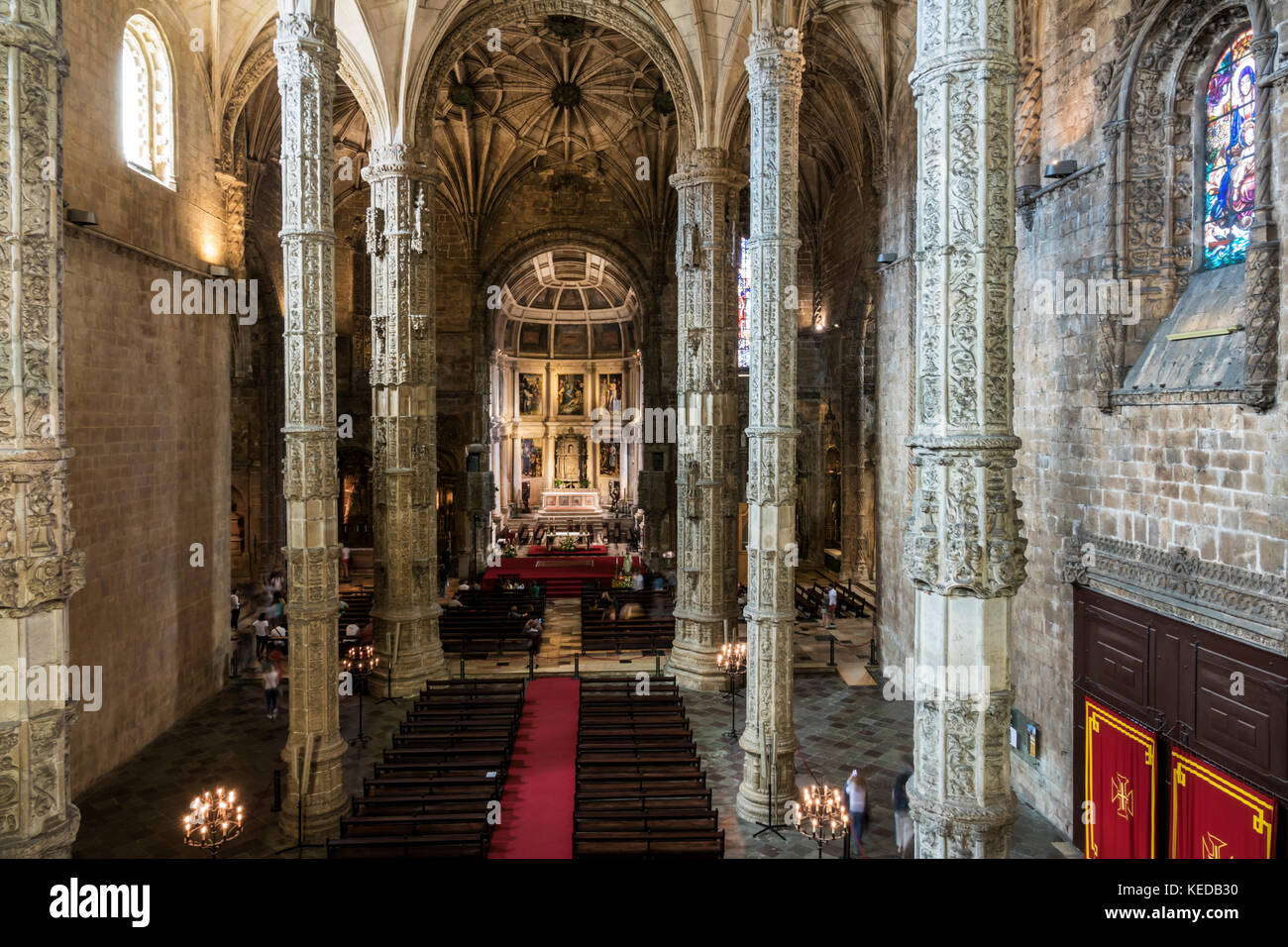 Lisbon Portugal Belem Mosteiro dos Jeronimos Jeronimos Monastery Gothic Manueline architecture nave chancel altar - Stock Image
