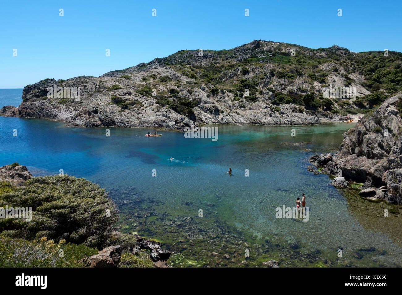 People swimming at Cap de Creus Natural Park.Gerona.Catalunya.Spain - Stock Image