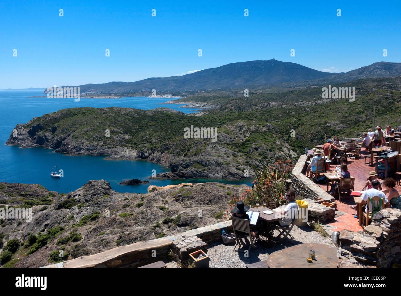Tourists relaxing at Cap de Creus restaurant.Girona.Catalunya.Spain - Stock Image