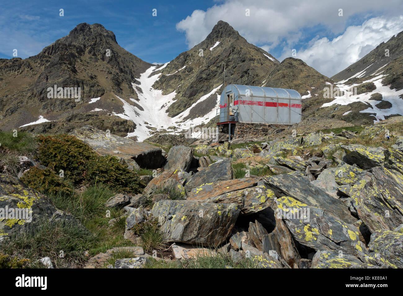 Mountain shelter.Pyrenees.Catalunya.Spain - Stock Image