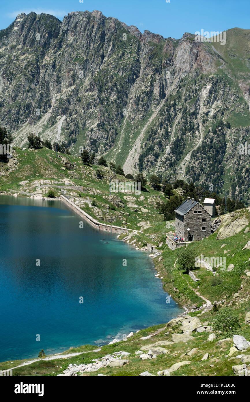Restanca shelter and dam.Aigüestortes National Park.Catalunya.Spain - Stock Image