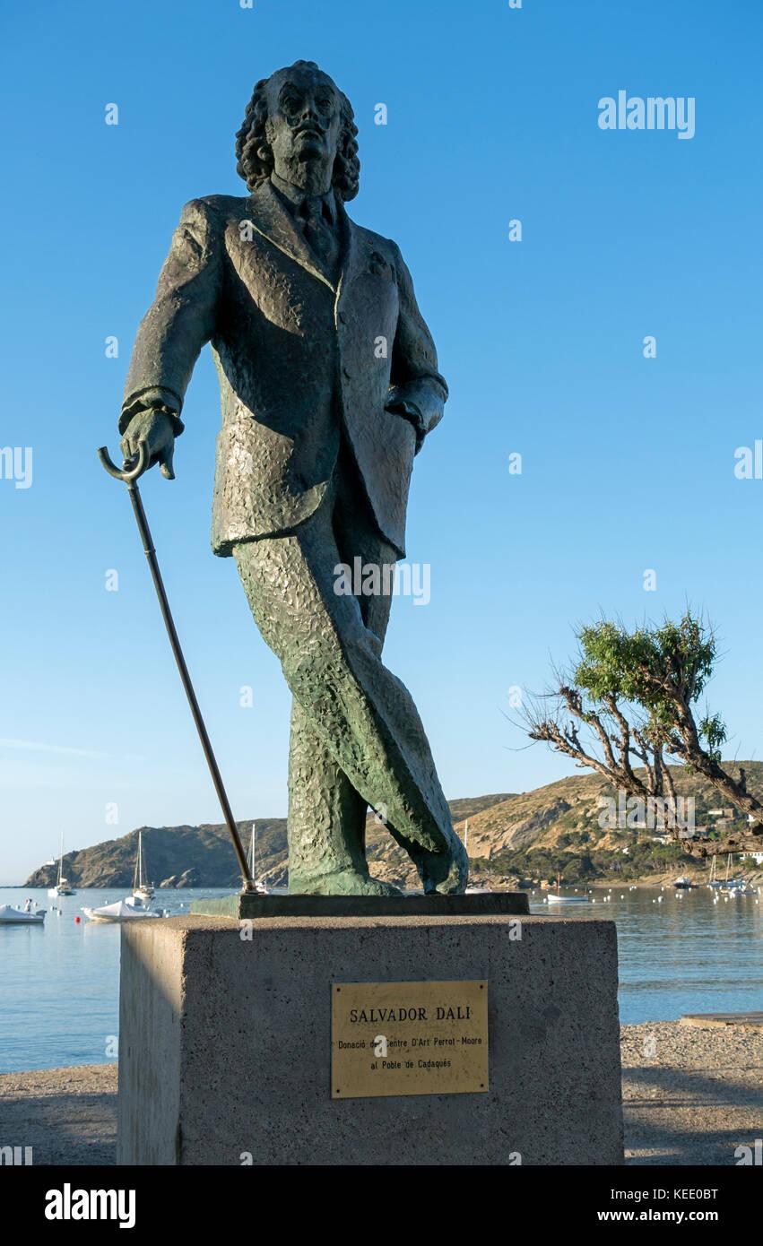 Salvador Dali statue.Cadaques.Catalunya.Spain - Stock Image