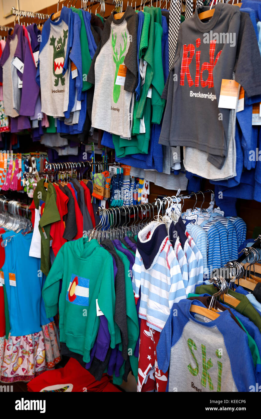 Display of children's clothes, Magical Scraps (fabric and children's clothing store), Breckenridge, Colorado - Stock Image
