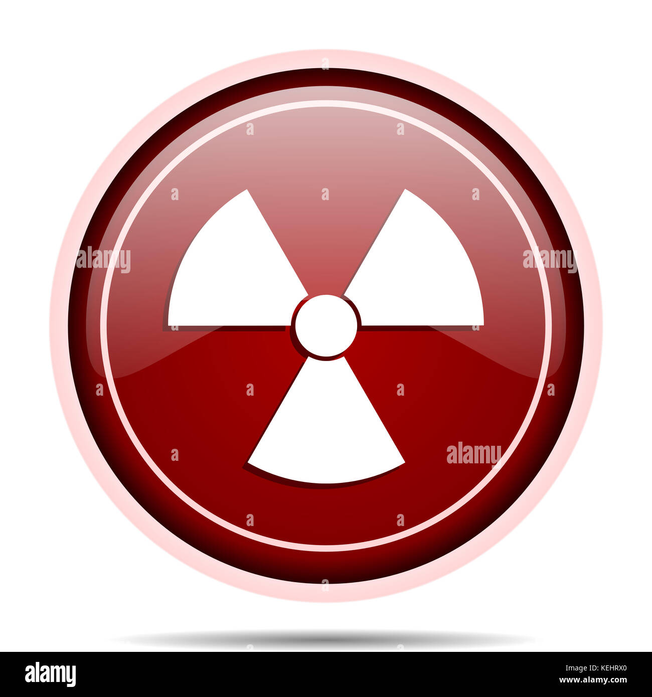 Radiation red glossy round web icon. Circle isolated internet button for webdesign and smartphone applications. - Stock Image