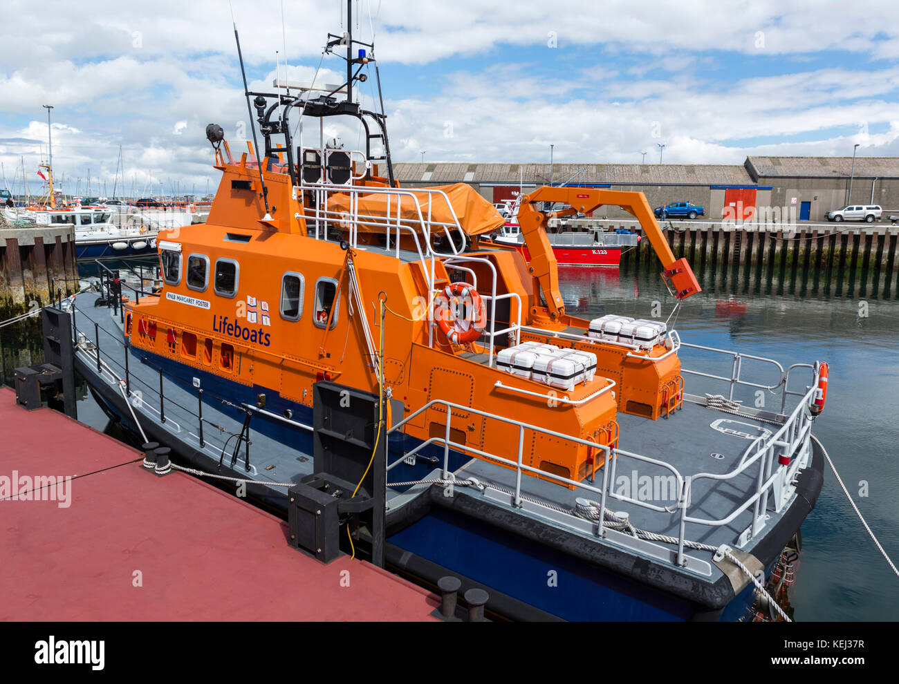 RNLI Severn class lifeboat 'RNLB Margaret Foster' in the harbour in Kirkwall, Mainland, Orkney, Scotland, - Stock Image