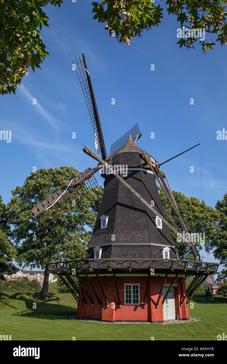 The windmill on the Kings Bastion in the Kastellet in the city of Copenhagen, Denmark. Built in 1847, it replaced - Stock Image