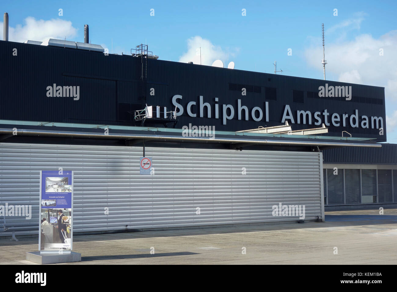 Schiphol Airport viewing deck and Panorama Terrace. - Stock Image