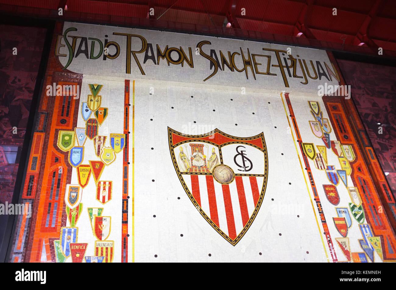 Commemorative mosaic, exterior of the Ramón Sánchez Pizjuán Stadium, Sevilla FC vs Las Palmas, Seville, - Stock Image