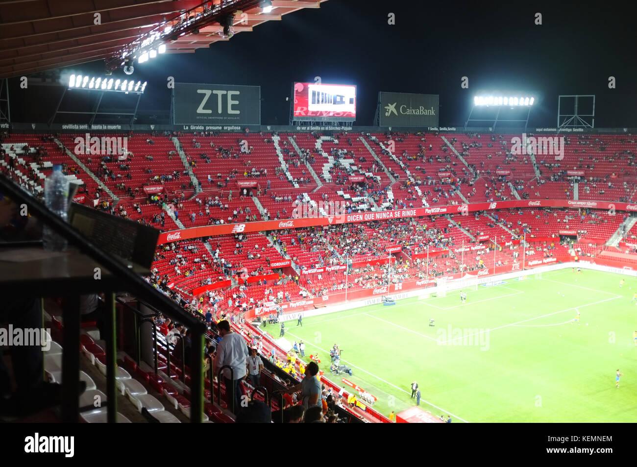 Inside the Ramón Sánchez Pizjuán Stadium, Sevilla FC vs Las Palmas, Seville, Andalucia, Spain, September - Stock Image