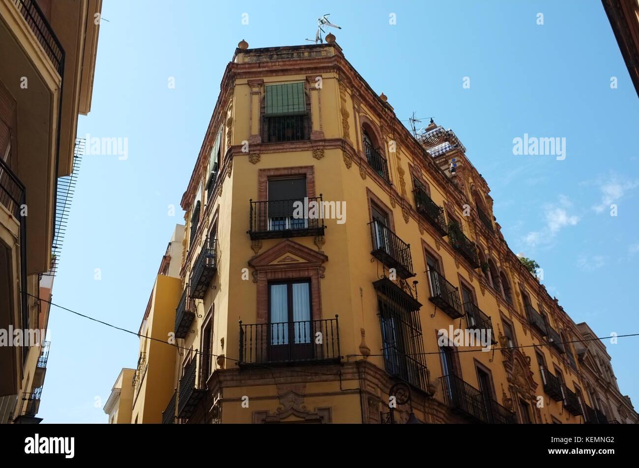 A building in central Seville/Sevilla, Andalucia, Spain, September 2017 - Stock Image