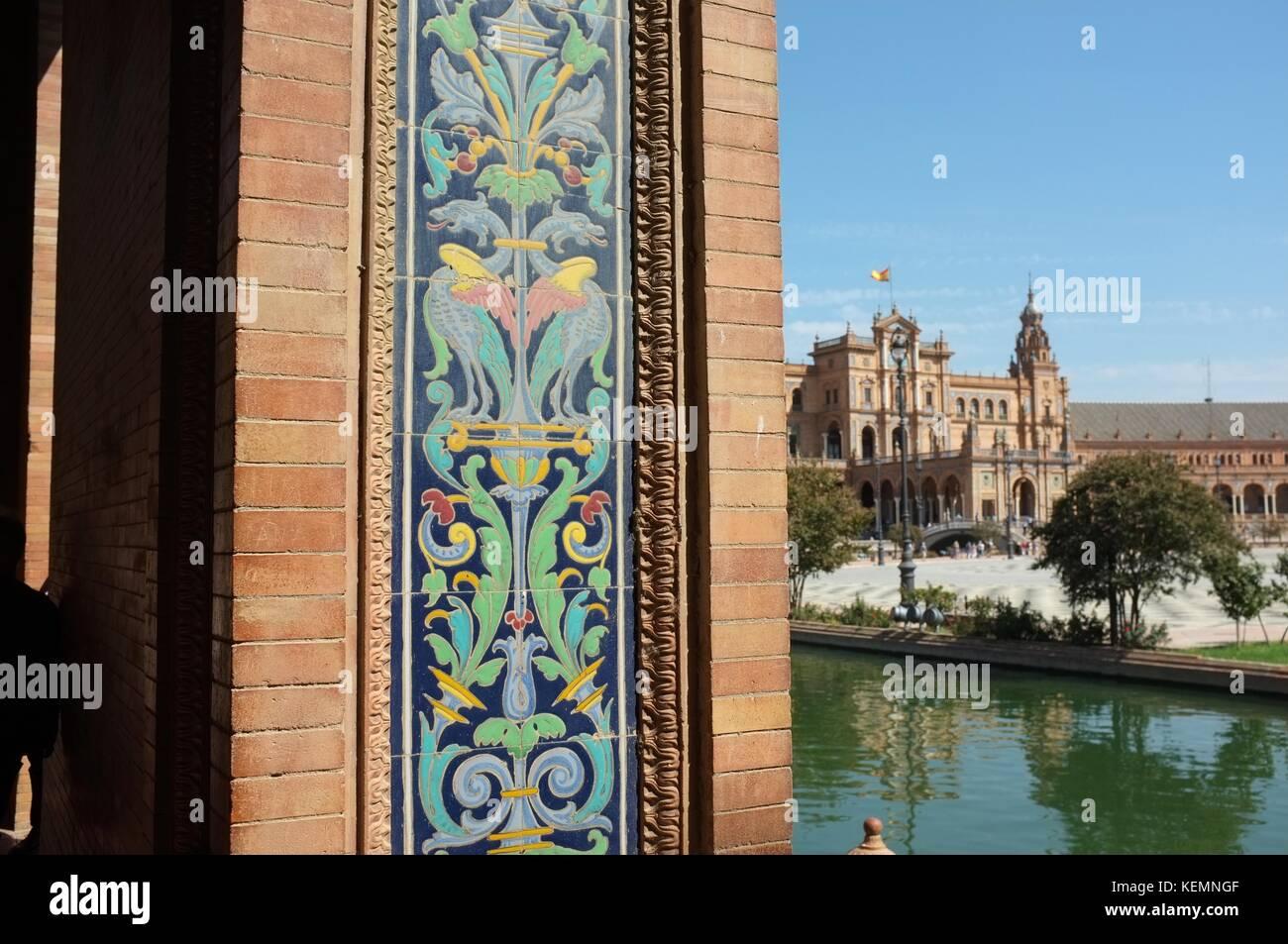 Plaza de España (completed 1928), Seville/Sevilla, Andalucia, Spain, September 2017 - Stock Image
