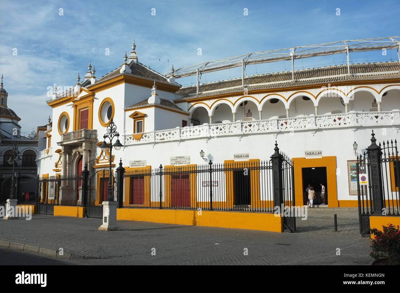 Plaza de toros de la Real Maestranza de Caballería de Sevilla, Seville/Sevilla, Andalucia, Spain, September - Stock Image