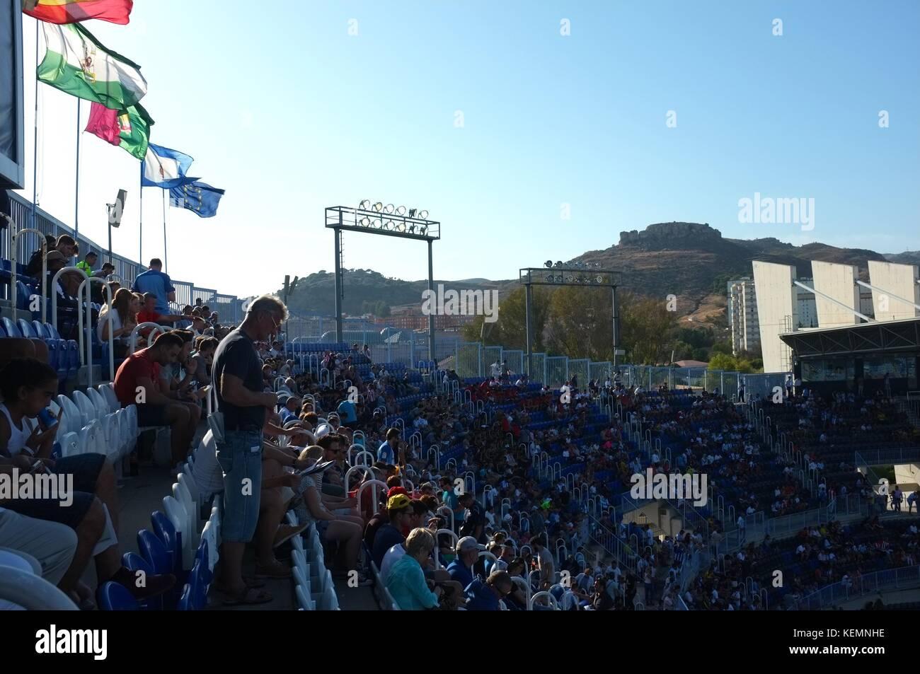 Inside the La Rosaleda Stadium during Malaga CF v Athletico Bilbao, Malaga, Andalucia, Spain, September 2017 - Stock Image