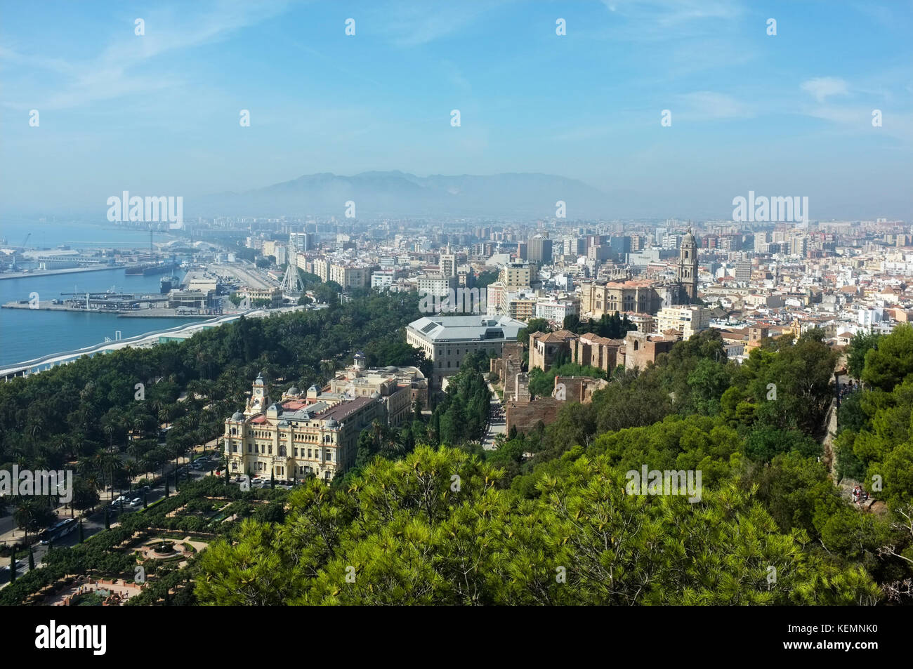 View looking westwards over the city centre from the castillo (castle) on Mount Gibralfaro, Malaga, Andalucia, Spain, - Stock Image