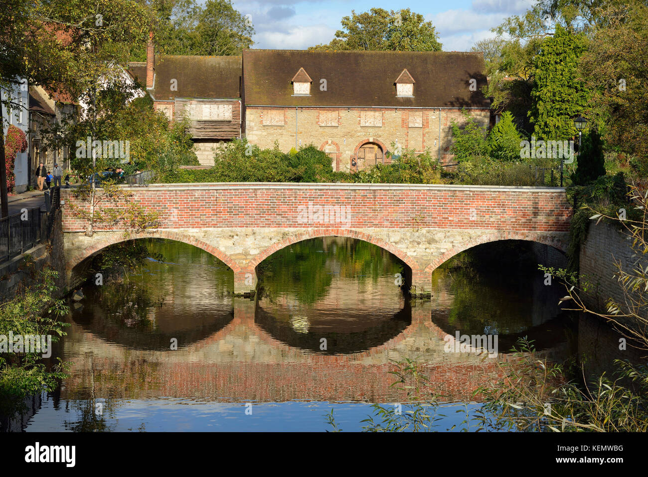 Brick Bridge over Upper Reaches, Abingdon Part of 10th Century Abbey Mill and former Hotel - Stock Image