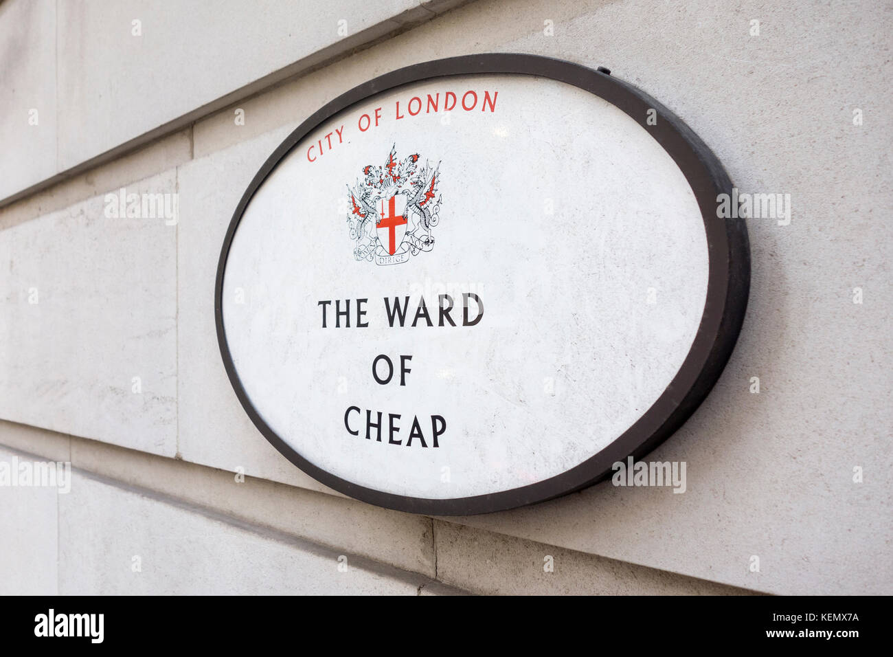 Sign for The Ward of Cheap, City of London, UK - Stock Image