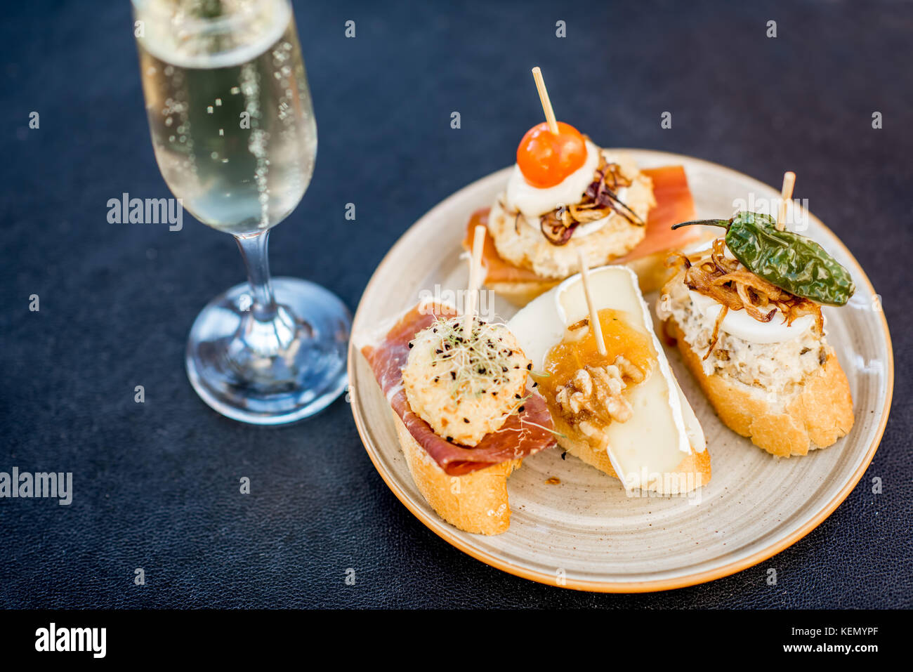 Set of pinchos on the table - Stock Image