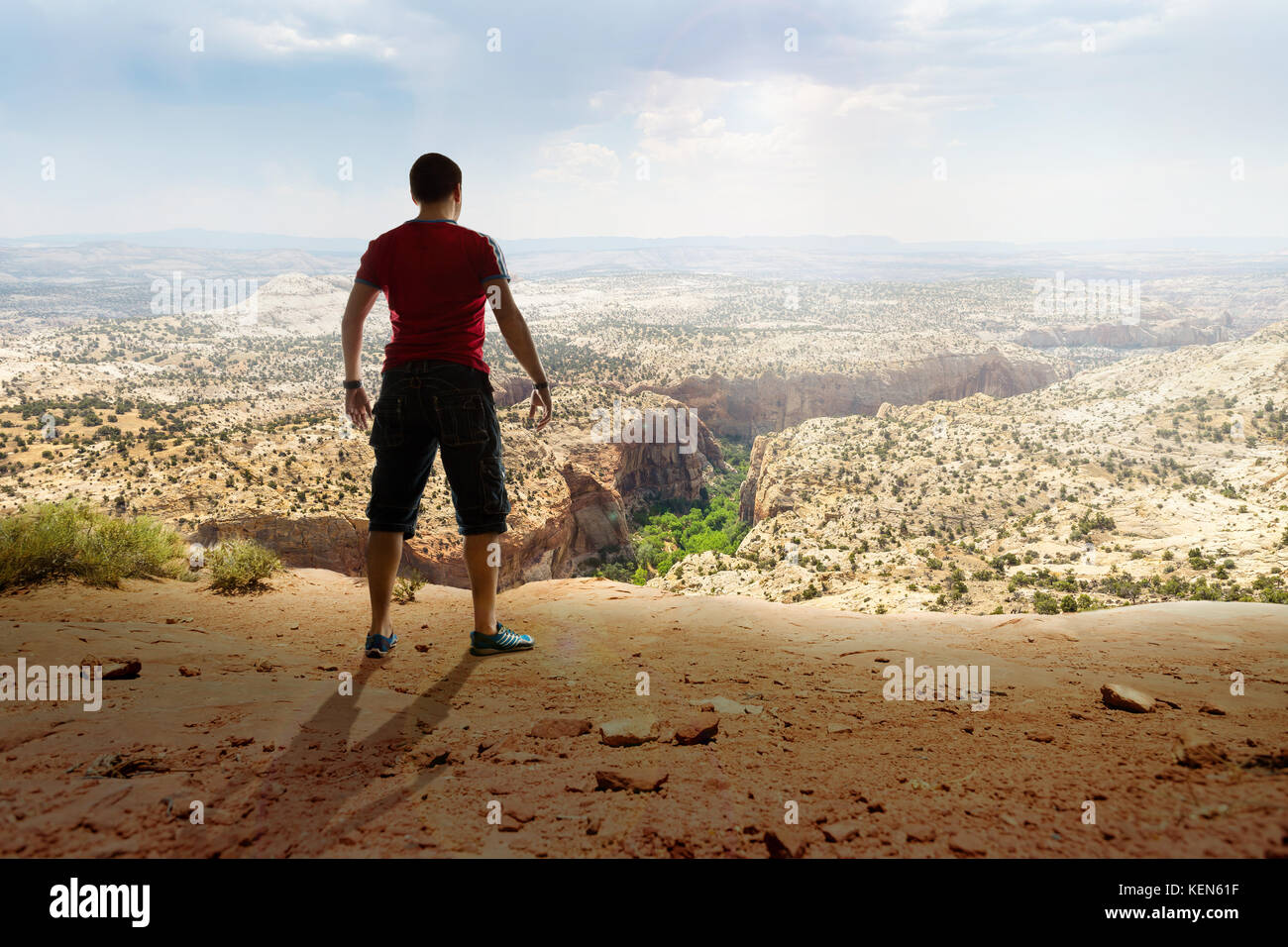 Man standing before something unknown - Stock Image