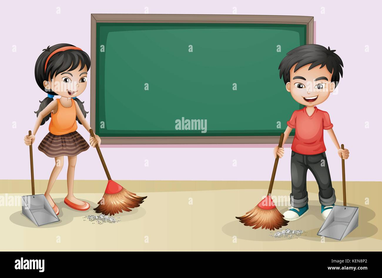 Children cleaning environment clipart