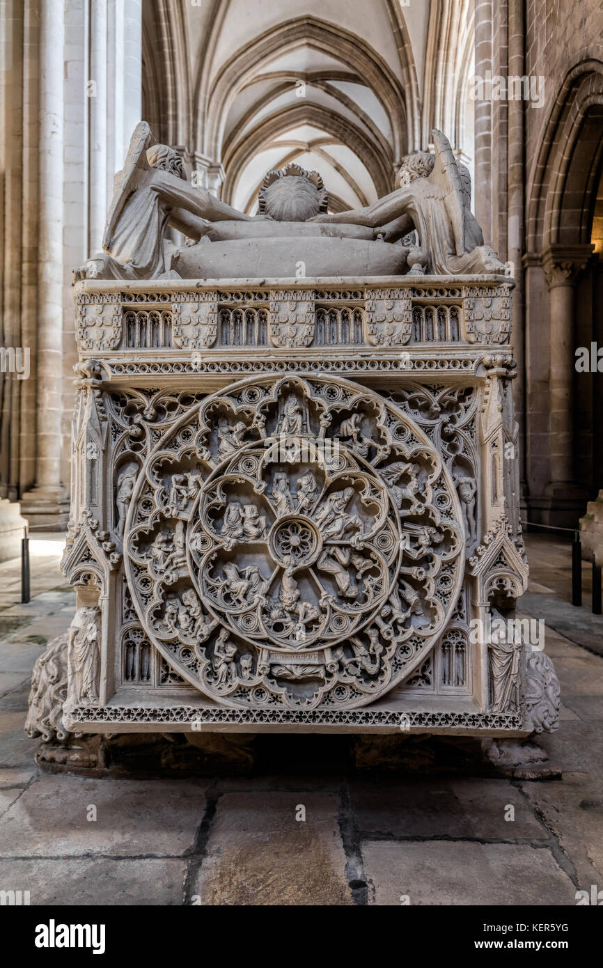 Medieval tomb of King Pedro I of Portugal, decorated with reliefs showing scenes from Saint Bartholomew's life - Stock Image
