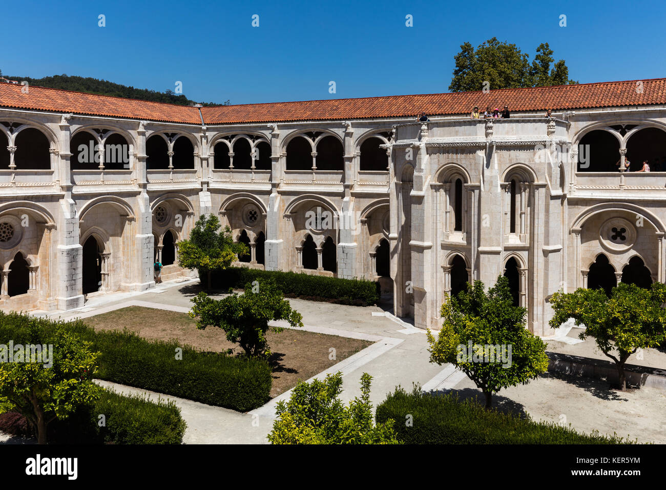 Cloister of the medieval Alcobaca Monastery, the first truly Gothic building in Portugal - Stock Image