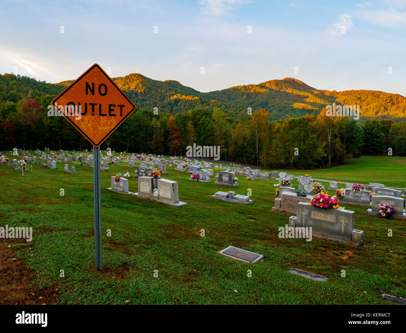 no-outlet-sign-next-to-cemetary-near-ash
