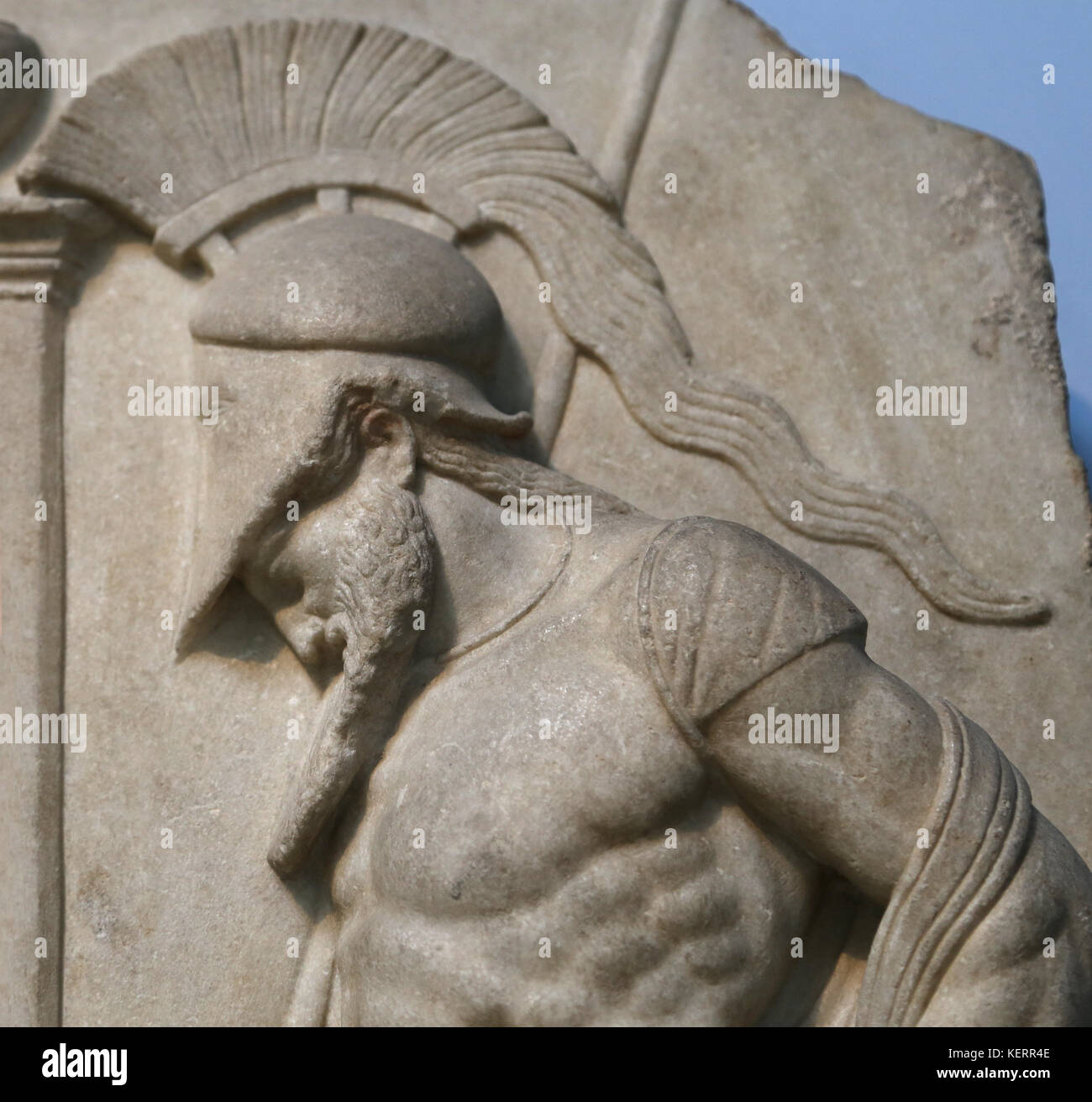 Greek warrior. Hellenistic, 1st century BC. From Rhodes. Marble grave. Warrior dressed, cuirass and helmet. British - Stock Image