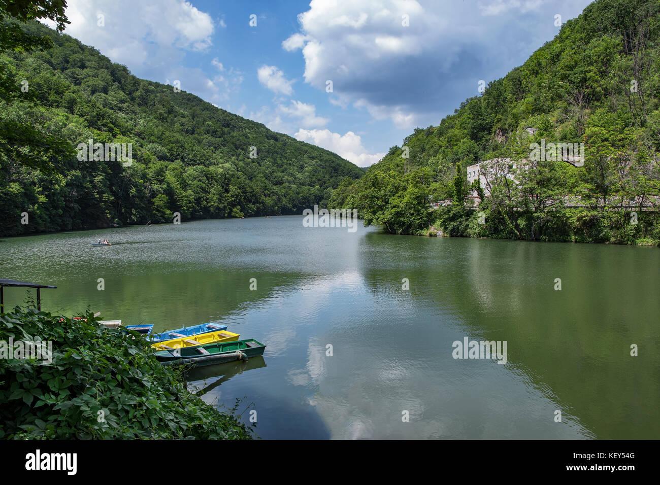 Boating on Lake Hamori in Lillafured, Hungary - Stock Image