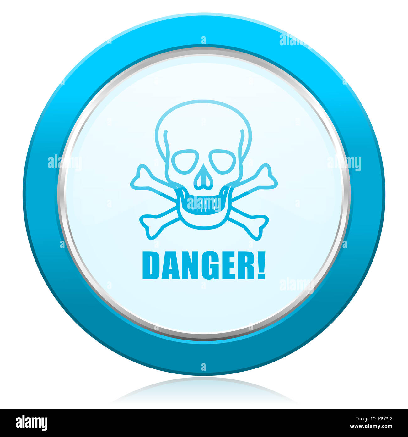 Danger skull blue chrome silver metallic border web icon. Round button for internet and mobile phone application - Stock Image